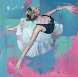 Ballerina by Pete Hawkins - Original Painting on Box Canvas sized 20x20 inches. Available from Whitewall Galleries